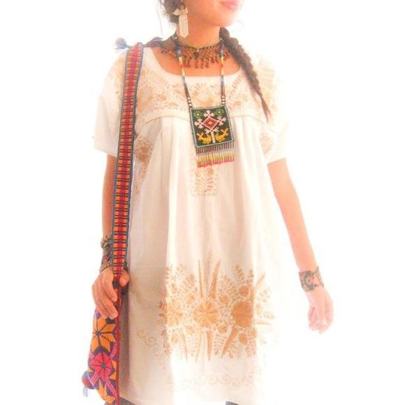 fec1f8dc75478 AidaCoronado Dresses | Mexican Dress Old Gold Tunic Tent Boho Hippie ...